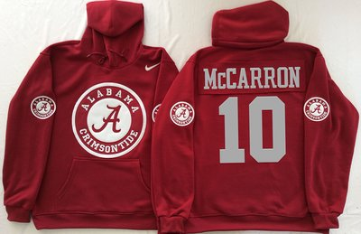 Alabama Crimson Tide 10 AJ McCarron Red Men's Pullover Hoodie