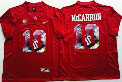 Alabama Crimson Tide 10 AJ McCarron Red Portrait Number College Jersey