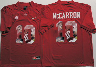 Alabama Crimson Tide 10 AJ McCarron Red With Silver Logo Portrait Number College Jersey