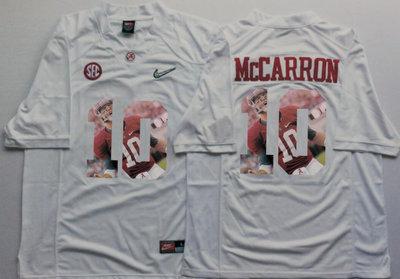 Alabama Crimson Tide 10 AJ McCarron White With Silver Logo Portrait Number College Jersey