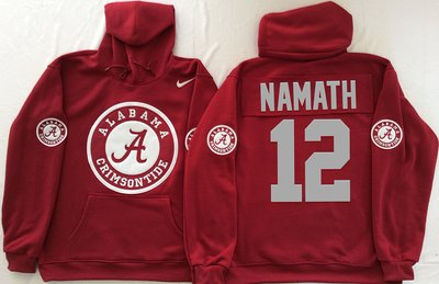 Alabama Crimson Tide 12 Joe Namath Red Men's Pullover Hoodie