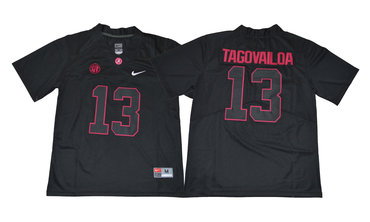 Alabama Crimson Tide 13 Tua Tagovailoa Black College Football Jersey