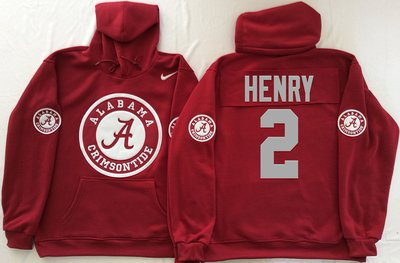 Alabama Crimson Tide 2 Derrick Henry Red Men's Pullover Hoodie