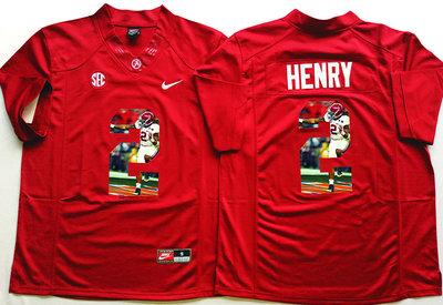 Alabama Crimson Tide 2 Derrick Henry Red Portrait Number College Jersey
