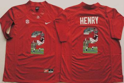Alabama Crimson Tide 2 Derrick Henry Red Portrait Number College Jersey2