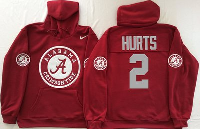 Alabama Crimson Tide 2 Jalen Hurts Red Men's Pullover Hoodie