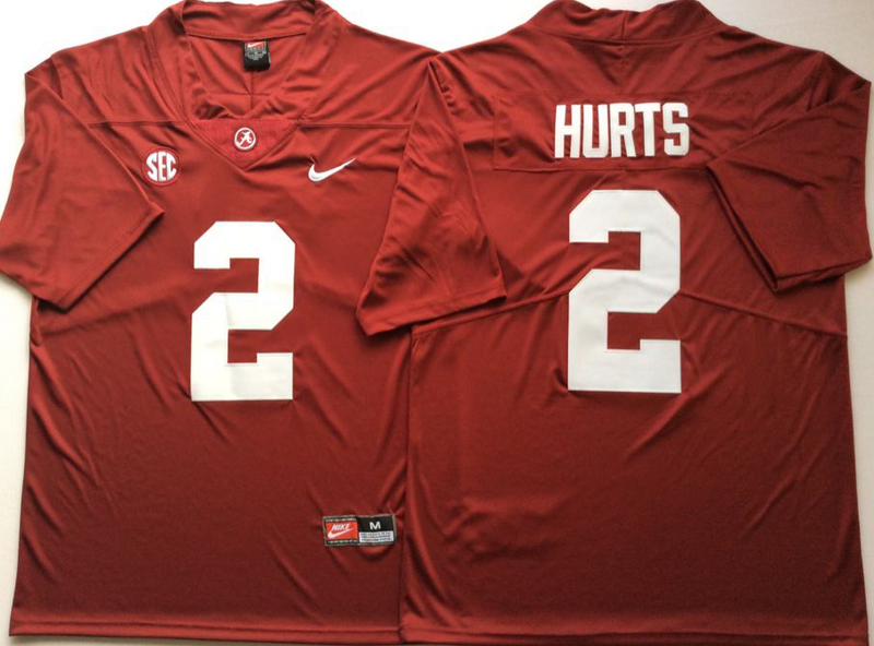 Alabama Crimson Tide 2 Jalen Hurts Red Nike College Football Jersey