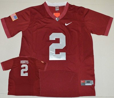Alabama Crimson Tide 2 Jalen Hurts Red USA Flag Football Jersey