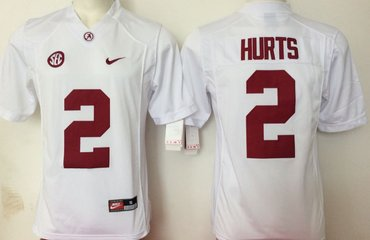 Alabama Crimson Tide 2 Jalen Hurts White College Football Jersey
