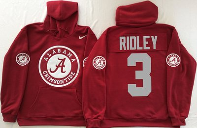 Alabama Crimson Tide 3 Calvin Ridley Red Men's Pullover Hoodie
