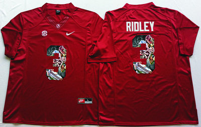 Alabama Crimson Tide 3 Calvin Ridley Red Portrait Number College Jersey