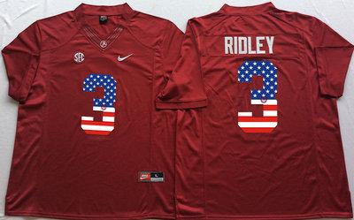 Alabama Crimson Tide 3 Calvin Ridley Red USA Flag College Jersey