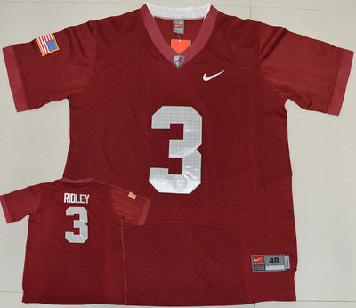 Alabama Crimson Tide 3 Calvin Ridley Red USA Flag Football Jersey