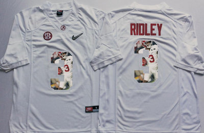 Alabama Crimson Tide 3 Calvin Ridley White With Silver Logo Portrait Number College Jersey