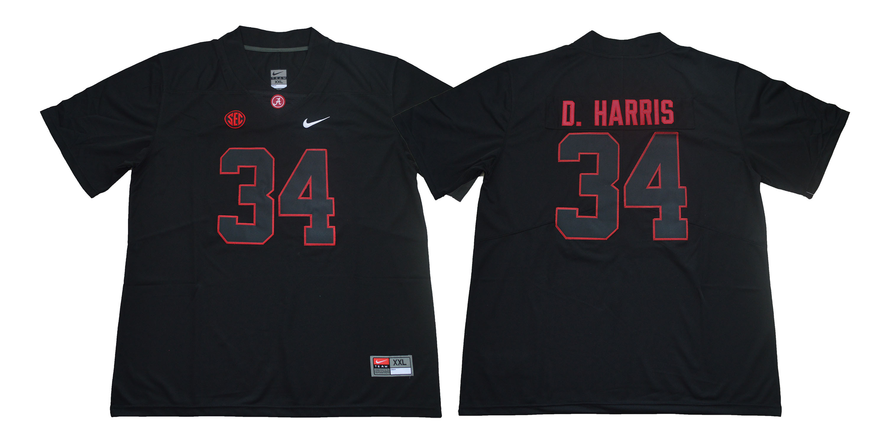 Alabama Crimson Tide 34 Damien Harris Black Nike College Football Jersey