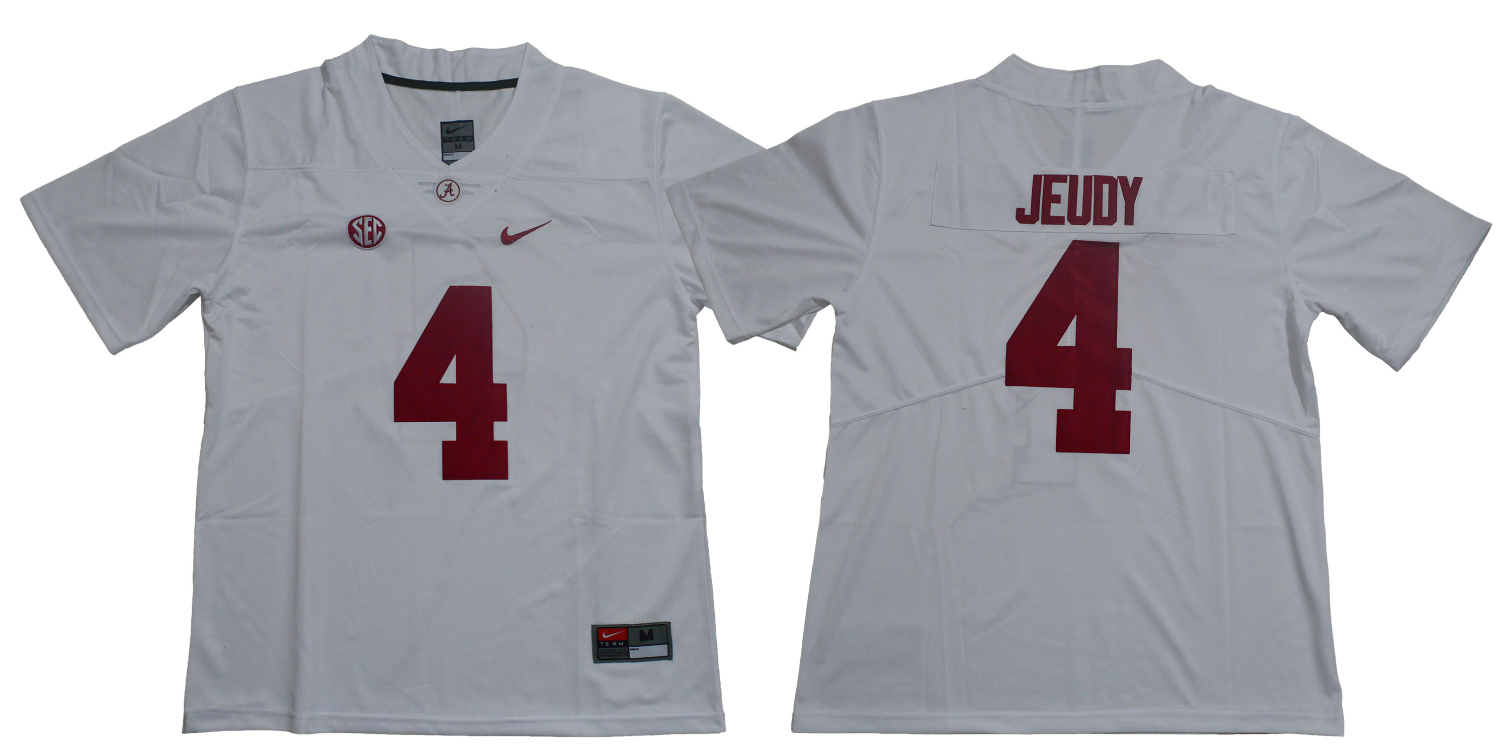 Alabama Crimson Tide 4 Jerry Jeudy White Nike College Football Jersey