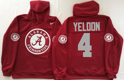 Alabama Crimson Tide 4 T.J Yeldon Red Men's Pullover Hoodie