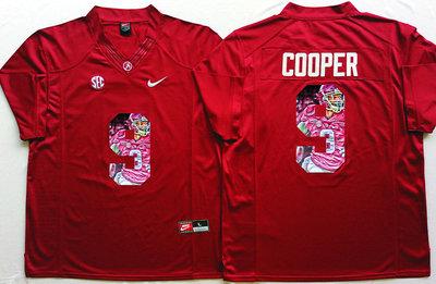 Alabama Crimson Tide 9 Amari Cooper Red With Pink Portrait Number College Jersey