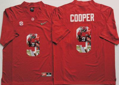 Alabama Crimson Tide 9 Amari Cooper Red With Silver Logo Portrait Number College Jersey