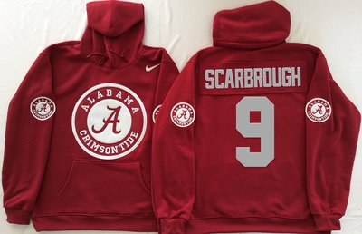 Alabama Crimson Tide 9 Bo Scarbrough Red Men's Pullover Hoodie