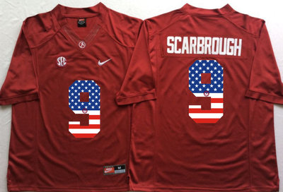 Alabama Crimson Tide 9 Bo Scarbrough Red USA Flag College Jersey