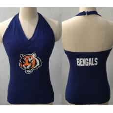 All Sport Couture Cincinnati Bengals Women's Blown Cover Halter Top Black