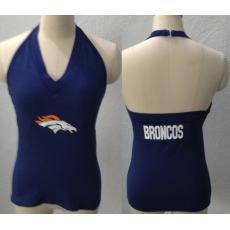 All Sport Couture Denver Broncos Women's Blown Cover Halter Top Navy Blue
