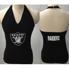 All Sport Couture Oakland Raiders Women's Blown Cover Halter Top Black