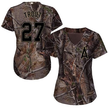 Angels #27 Mike Trout Camo Realtree Collection Cool Base Women's Stitched Baseball Jersey