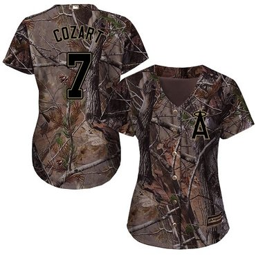 Angels #7 Zack Cozart Camo Realtree Collection Cool Base Women's Stitched Baseball Jersey