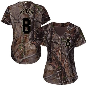 Angels #8 Justin Upton Camo Realtree Collection Cool Base Women's Stitched Baseball Jersey