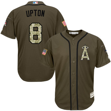 Angels #8 Justin Upton Green Salute to Service Stitched Youth MLB Jersey