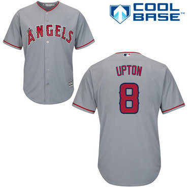 Angels #8 Justin Upton Grey Cool Base Stitched Youth MLB Jersey