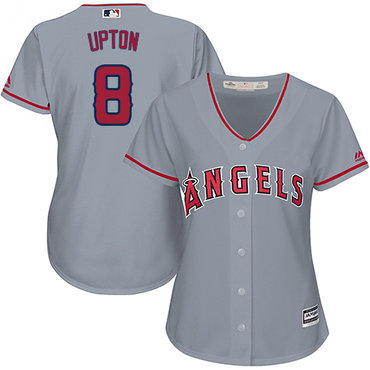 Angels #8 Justin Upton Grey Road Women's Stitched MLB Jersey