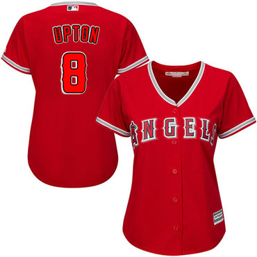 Angels #8 Justin Upton Red Alternate Women's Stitched MLB Jersey