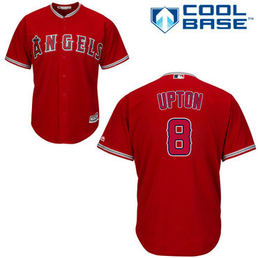 Angels #8 Justin Upton Red Cool Base Stitched Youth MLB Jersey