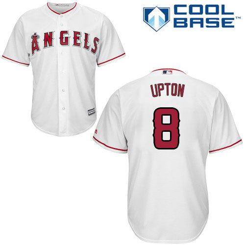 Angels #8 Justin Upton White Cool Base Stitched Youth MLB Jersey