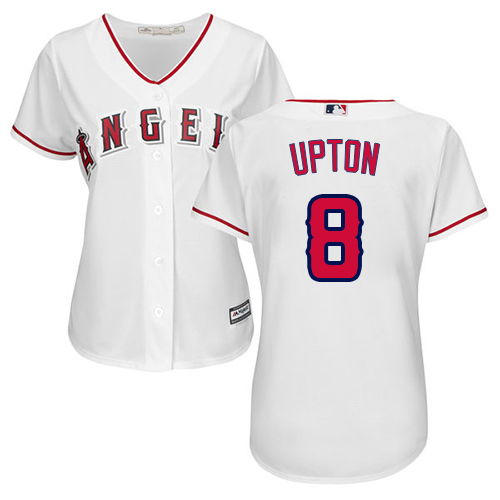 Angels #8 Justin Upton White Home Women's Stitched MLB Jersey