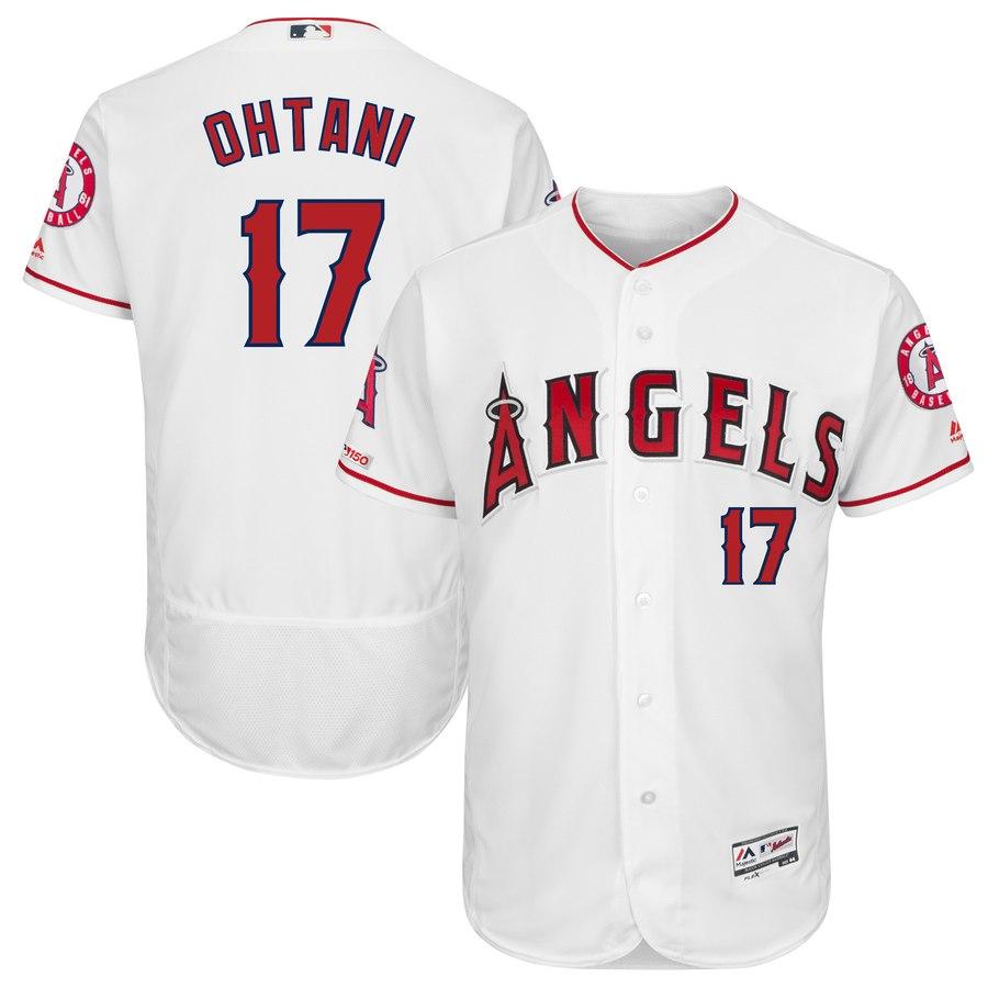 Angels 17 Shohei Ohtani White 150th Patch Flexbase Jersey