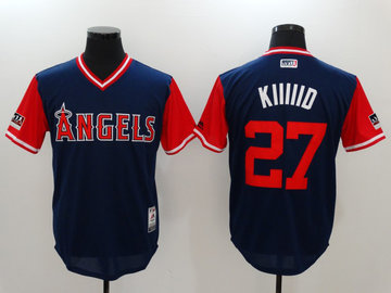 Angels 27 Mike Trout KIIIIID Navy 2018 Players' Weekend Authentic Team Jersey