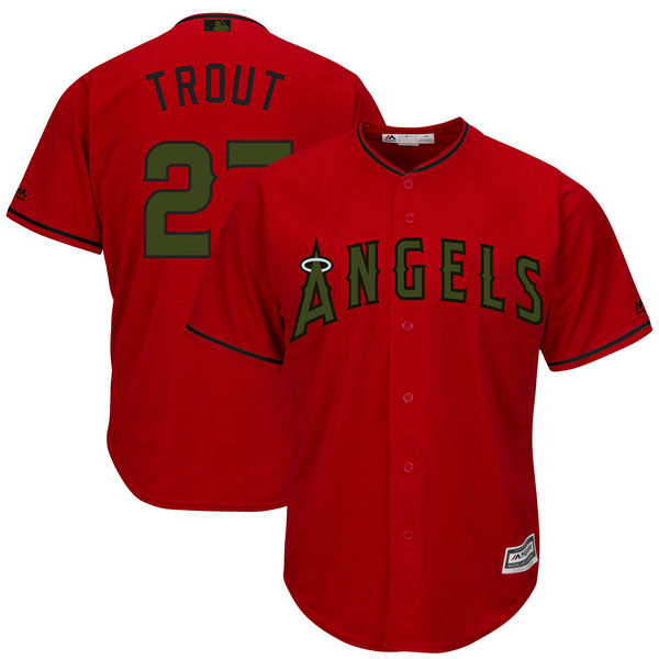 Angels 27 Mike Trout Red 2018 Memorial Day Cool Base Jersey