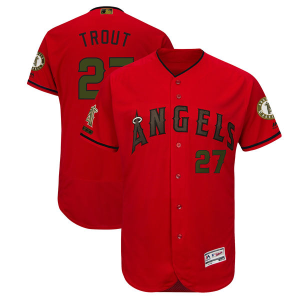 Angels 27 Mike Trout Red 2018 Memorial Day Flexbase Jersey