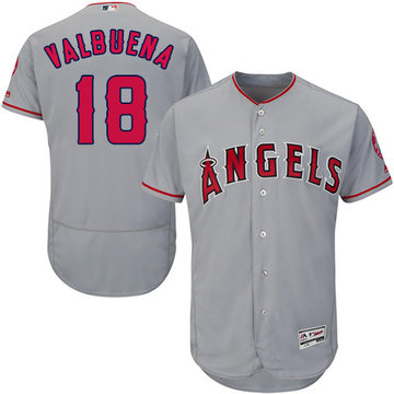 Angels of Anaheim #18 Luis Valbuena Grey Flexbase Authentic Collection Stitched Baseball Jersey