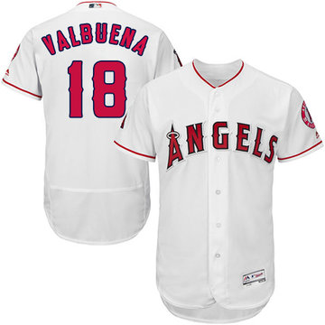 Angels of Anaheim #18 Luis Valbuena White Flexbase Authentic Collection Stitched Baseball Jersey