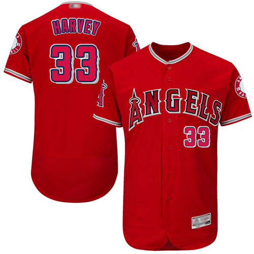 Angels of Anaheim #33 Matt Harvey Red Flexbase Authentic Collection Stitched Baseball Jersey