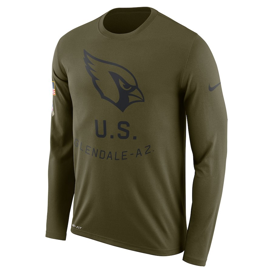 Arizona Cardinals Nike Salute To Service Sideline Legend Performance Long Sleeve T-Shirt Olive