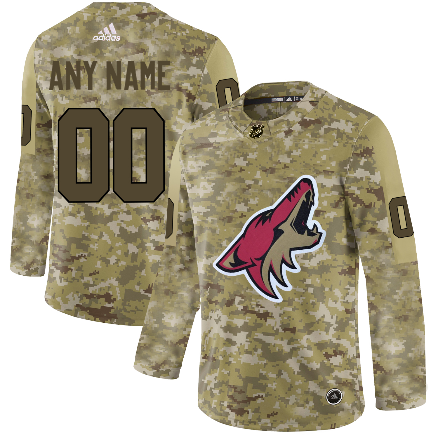 Arizona Coyotes Camo Men's Customized Adidas Jersey
