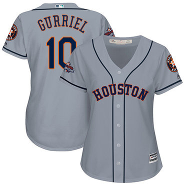 Astros #10 Yuli Gurriel Grey Road 2017 World Series Champions Women's Stitched MLB Jersey