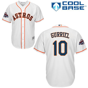 Astros #10 Yuli Gurriel White Cool Base 2017 World Series Champions Stitched Youth MLB Jersey