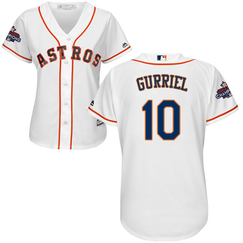 Astros #10 Yuli Gurriel White Home 2017 World Series Champions Women's Stitched MLB Jersey
